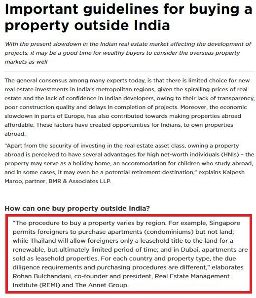 REMI's view on 'Important guidelines for buying a property outside India'-1