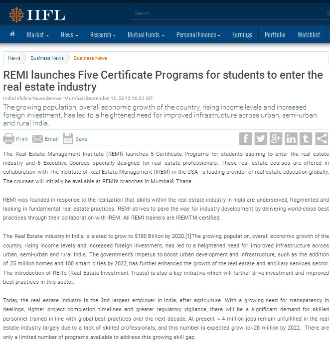 REMI launches Five Certificate Programs for students to enter the real estate industry 1