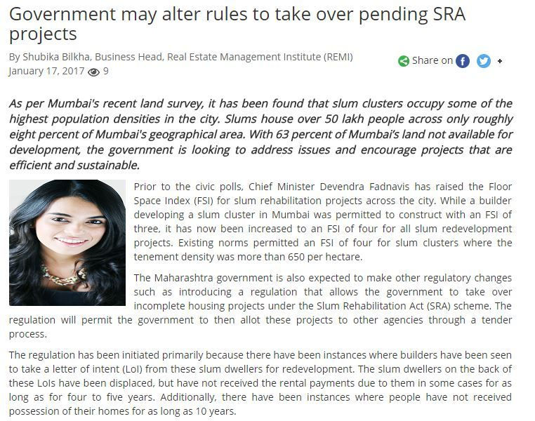 Government may alter rules to take over pending SRA projects