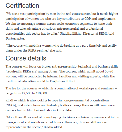 Highlights On Remi Launches The Real Estate Courses Which Helps In
